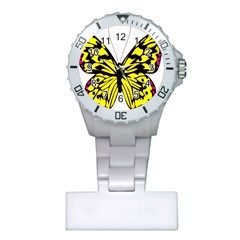 Yellow A Colorful Butterfly Image Plastic Nurses Watch