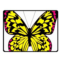 Yellow A Colorful Butterfly Image Double Sided Fleece Blanket (Small)