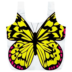 Yellow A Colorful Butterfly Image Full Print Recycle Bags (l)