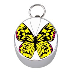 Yellow A Colorful Butterfly Image Mini Silver Compasses