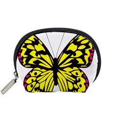 Yellow A Colorful Butterfly Image Accessory Pouches (small)