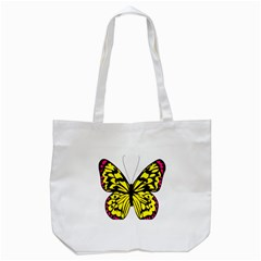 Yellow A Colorful Butterfly Image Tote Bag (White)