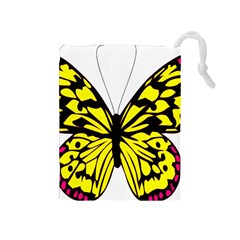 Yellow A Colorful Butterfly Image Drawstring Pouches (Medium)