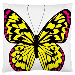 Yellow A Colorful Butterfly Image Large Flano Cushion Case (One Side)