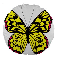 Yellow A Colorful Butterfly Image Large 18  Premium Flano Round Cushions