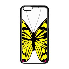 Yellow A Colorful Butterfly Image Apple iPhone 6/6S Black Enamel Case