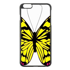 Yellow A Colorful Butterfly Image Apple Iphone 6 Plus/6s Plus Black Enamel Case
