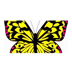 Yellow A Colorful Butterfly Image Satin Wrap