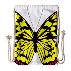 Yellow A Colorful Butterfly Image Drawstring Bag (large)