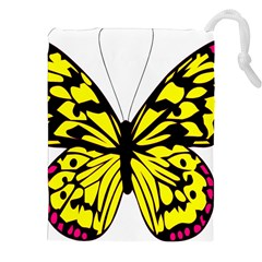 Yellow A Colorful Butterfly Image Drawstring Pouches (xxl)