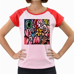 Digitally Painted Abstract Doodle Texture Women s Cap Sleeve T-Shirt