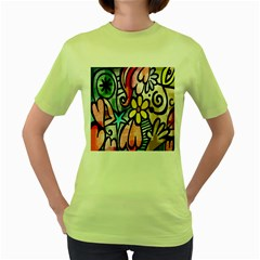 Digitally Painted Abstract Doodle Texture Women s Green T-Shirt