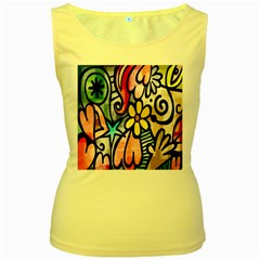 Digitally Painted Abstract Doodle Texture Women s Yellow Tank Top