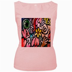 Digitally Painted Abstract Doodle Texture Women s Pink Tank Top
