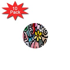 Digitally Painted Abstract Doodle Texture 1  Mini Buttons (10 pack)