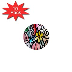 Digitally Painted Abstract Doodle Texture 1  Mini Magnet (10 pack)