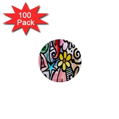 Digitally Painted Abstract Doodle Texture 1  Mini Buttons (100 pack)