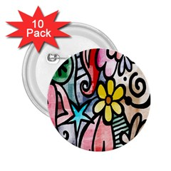 Digitally Painted Abstract Doodle Texture 2 25  Buttons (10 Pack)