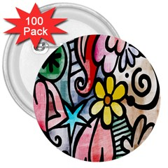 Digitally Painted Abstract Doodle Texture 3  Buttons (100 Pack)
