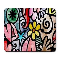 Digitally Painted Abstract Doodle Texture Large Mousepads