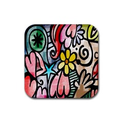Digitally Painted Abstract Doodle Texture Rubber Square Coaster (4 Pack)
