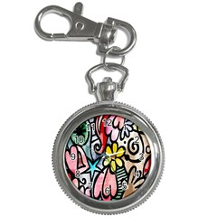 Digitally Painted Abstract Doodle Texture Key Chain Watches