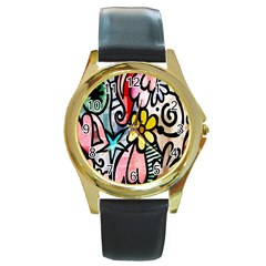 Digitally Painted Abstract Doodle Texture Round Gold Metal Watch