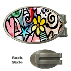 Digitally Painted Abstract Doodle Texture Money Clips (oval)