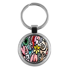 Digitally Painted Abstract Doodle Texture Key Chains (round)