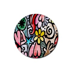 Digitally Painted Abstract Doodle Texture Rubber Round Coaster (4 pack)