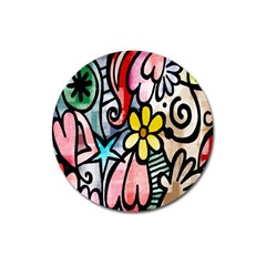 Digitally Painted Abstract Doodle Texture Magnet 3  (Round)