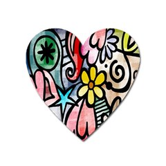 Digitally Painted Abstract Doodle Texture Heart Magnet