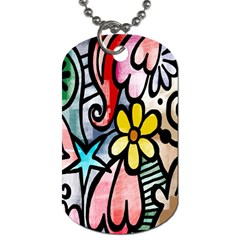 Digitally Painted Abstract Doodle Texture Dog Tag (One Side)