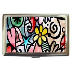 Digitally Painted Abstract Doodle Texture Cigarette Money Cases