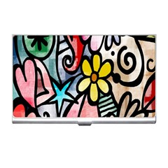 Digitally Painted Abstract Doodle Texture Business Card Holders
