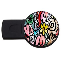 Digitally Painted Abstract Doodle Texture USB Flash Drive Round (1 GB)