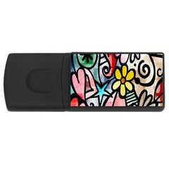 Digitally Painted Abstract Doodle Texture USB Flash Drive Rectangular (1 GB)