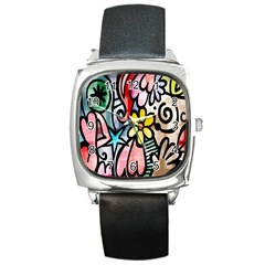 Digitally Painted Abstract Doodle Texture Square Metal Watch