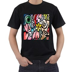 Digitally Painted Abstract Doodle Texture Men s T-Shirt (Black) (Two Sided)