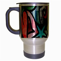 Digitally Painted Abstract Doodle Texture Travel Mug (Silver Gray)