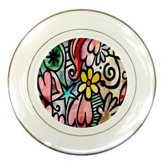 Digitally Painted Abstract Doodle Texture Porcelain Plates