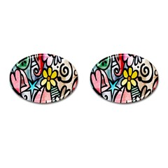 Digitally Painted Abstract Doodle Texture Cufflinks (oval)