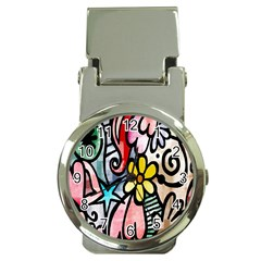 Digitally Painted Abstract Doodle Texture Money Clip Watches