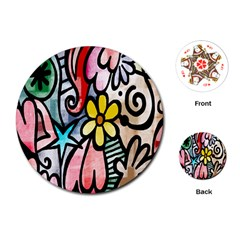 Digitally Painted Abstract Doodle Texture Playing Cards (round)