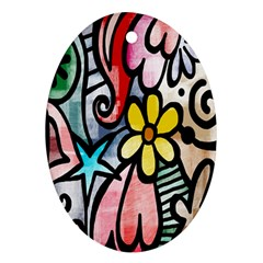 Digitally Painted Abstract Doodle Texture Oval Ornament (Two Sides)