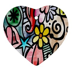 Digitally Painted Abstract Doodle Texture Heart Ornament (Two Sides)
