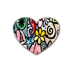 Digitally Painted Abstract Doodle Texture Rubber Coaster (heart)
