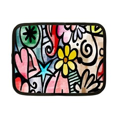 Digitally Painted Abstract Doodle Texture Netbook Case (small)