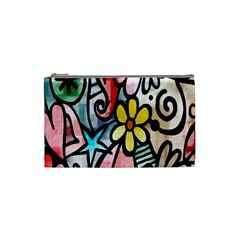 Digitally Painted Abstract Doodle Texture Cosmetic Bag (small)