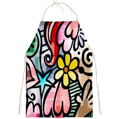 Digitally Painted Abstract Doodle Texture Full Print Aprons